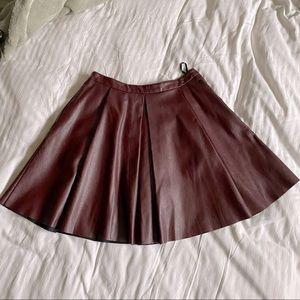 La Chapelle burgundy faux leather skater skirt